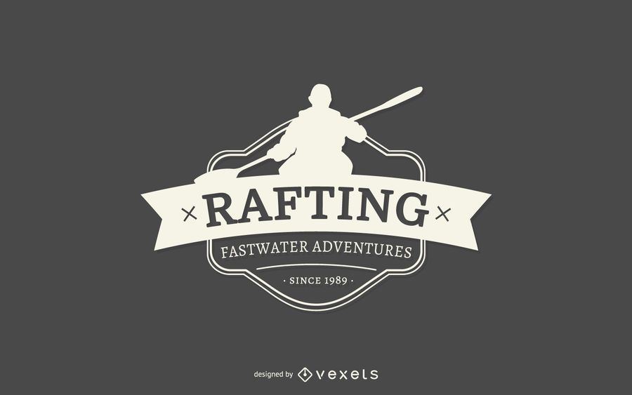Rafting silhouette logo template