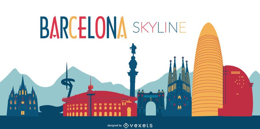 Colorful Barcelona skyline illustration