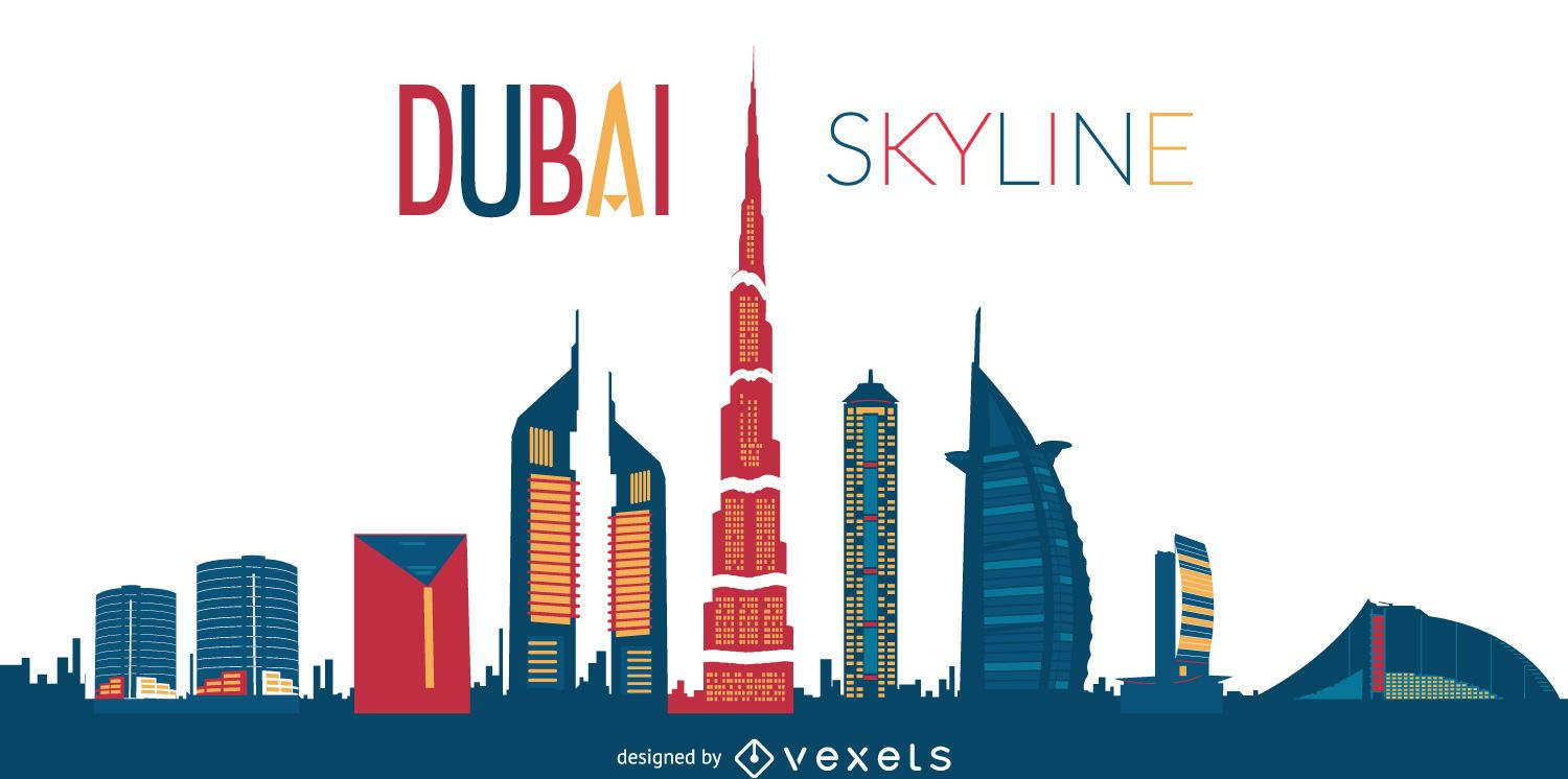 Art Line Uae : Dubai skyline silhouette illustration vector download
