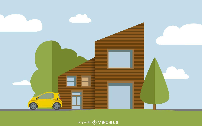 Ilustraci n de la casa plana descargar vector for Casa moderna vector