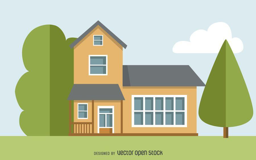Dos pisos dibujo de la casa descargar vector for Casa moderna vector