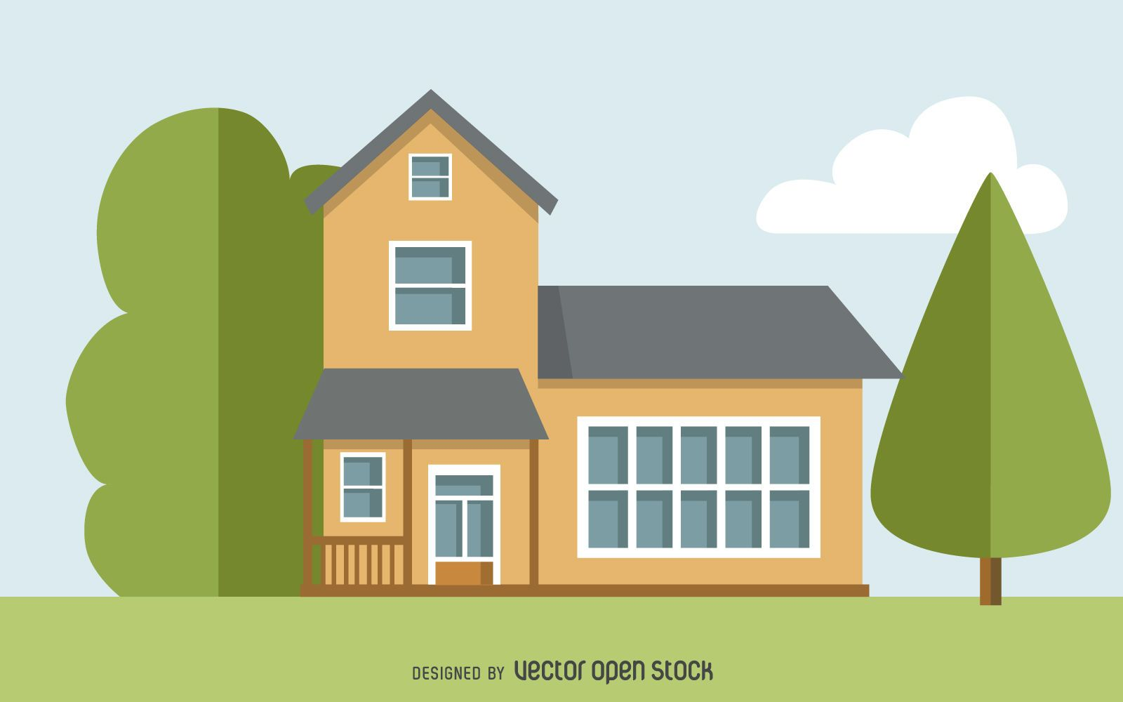 Two story house drawing vector download for Draw house online