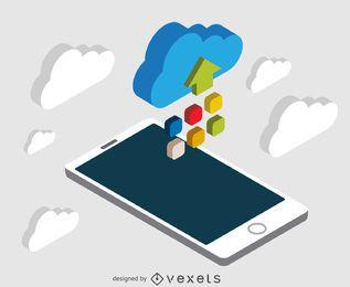 Smartphone com nuvem isométrica