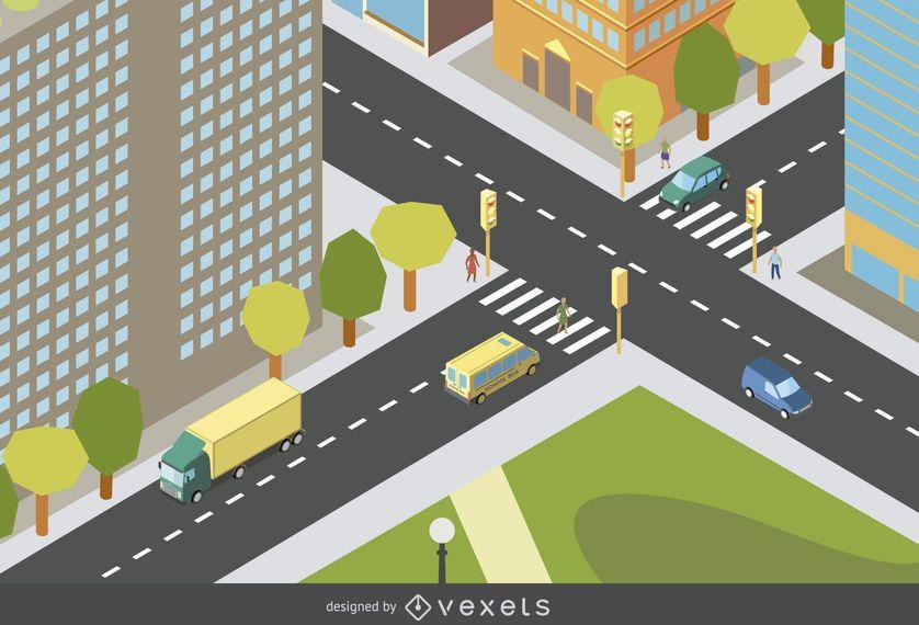 Diseño isométrico de la ciudad
