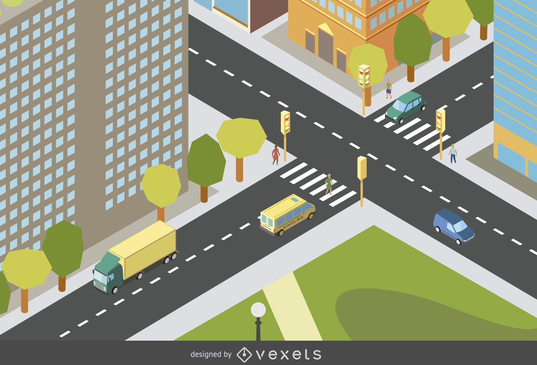 Isometrisches Stadtdesign