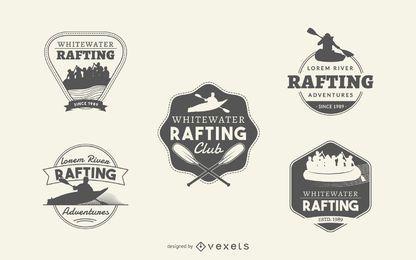 Rafting conjunto de coleta de rótulo de logotipo