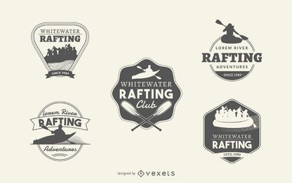 Rafting logo label collection set