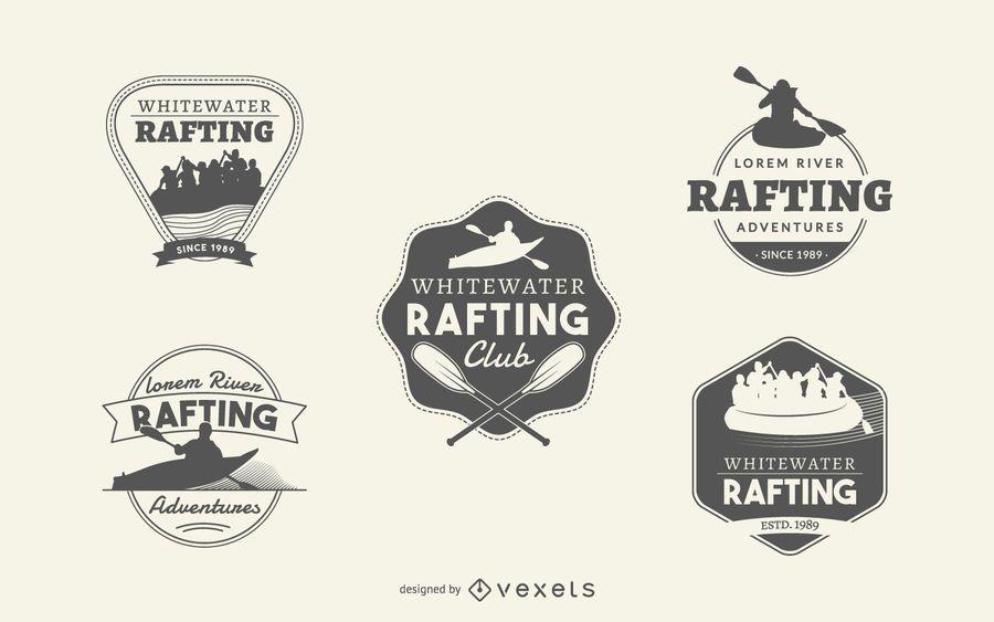 Rafting logo label collection set