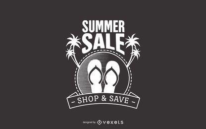 Rótulo de praia de venda de verão
