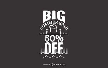 etiqueta grande de la venta del verano