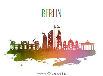 Berliner Aquarell Skyline Silhouette