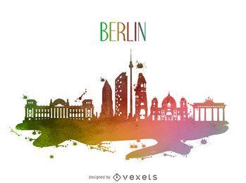 Silhueta do horizonte em aquarela de Berlim