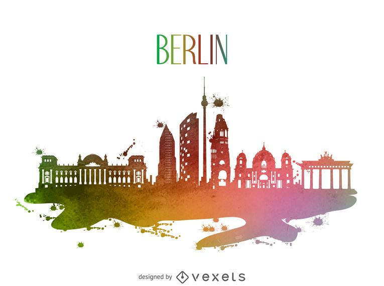 Berlin watercolor skyline silhouette