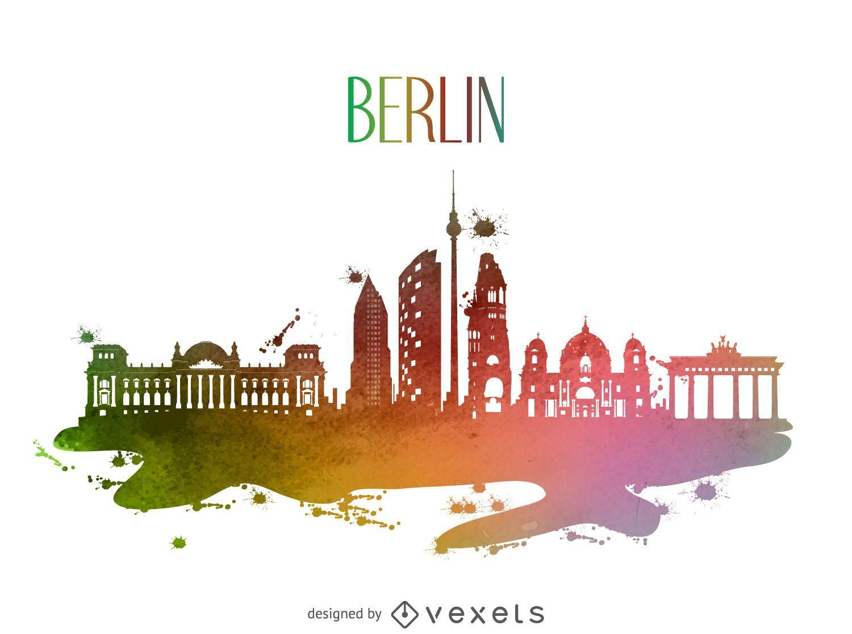 Berlin watercolor skyline silhouette