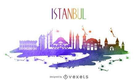 Istanbul watercolor skyline