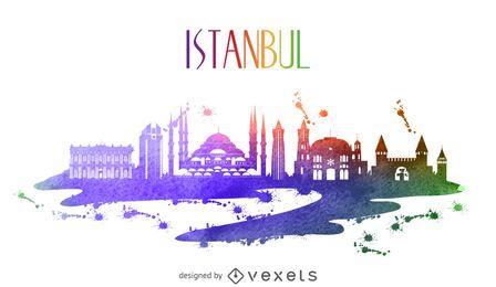 Skyline de aquarela de Istambul