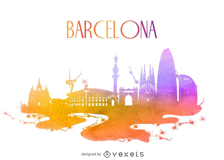 Barcelona watercolor building silhouette