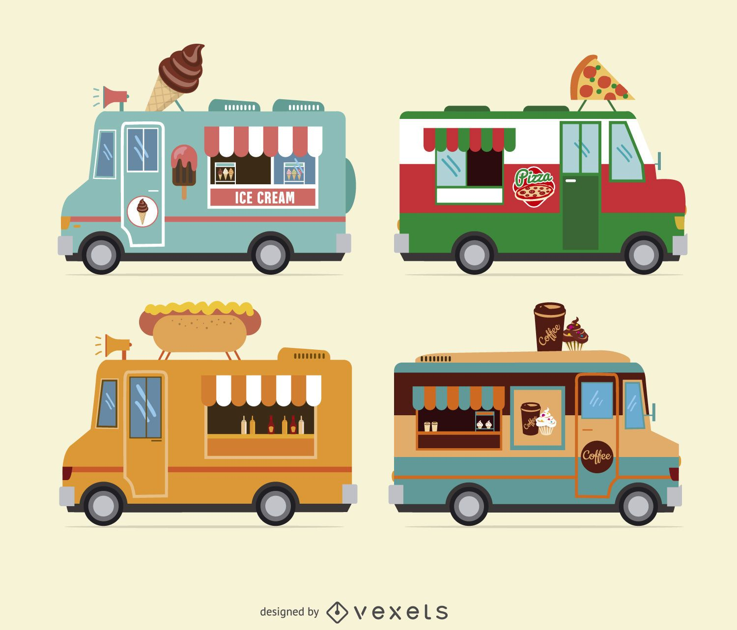 Food truck design collection vector download for Design food truck online