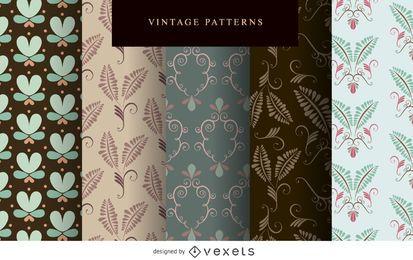 Conjunto de papel de parede vintage padrão