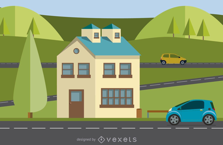 Modern home illustration