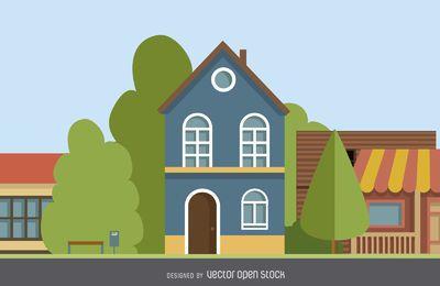 Ilustración de casa de dos pisos