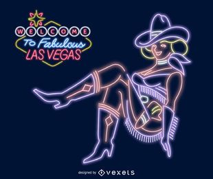 Las Vegas cowgirl sign