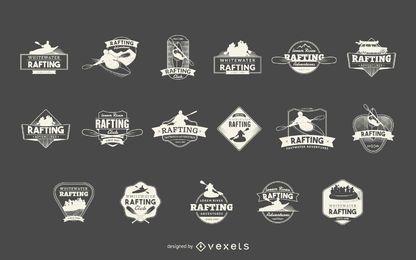 Conjunto de etiquetas de esporte Rafting
