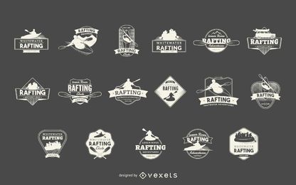 Conjunto de rótulos deportivos de rafting.