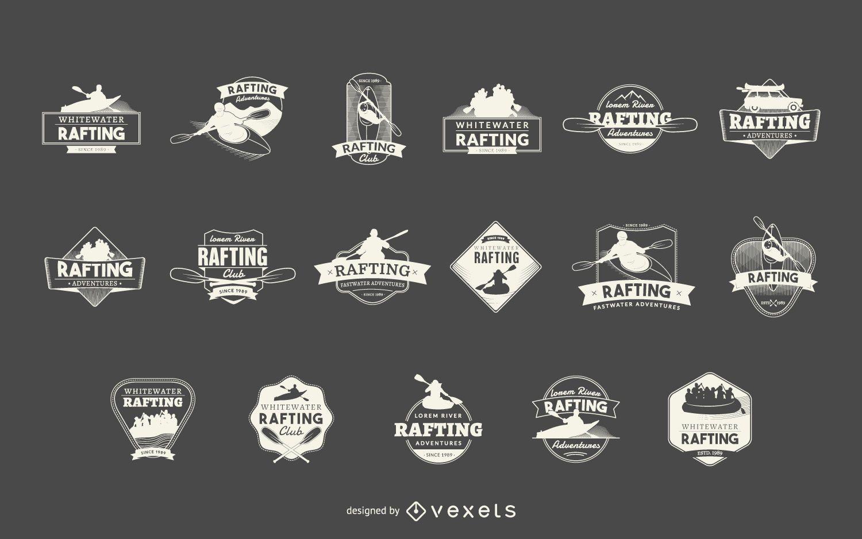 Conjunto de etiquetas deportivas de rafting.