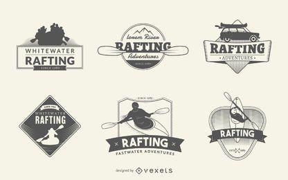 Conjunto de logotipo de rafting