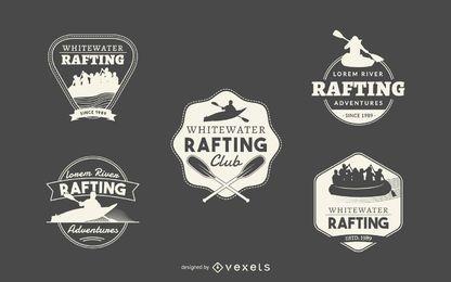 Coleção de logotipo de rafting hipster