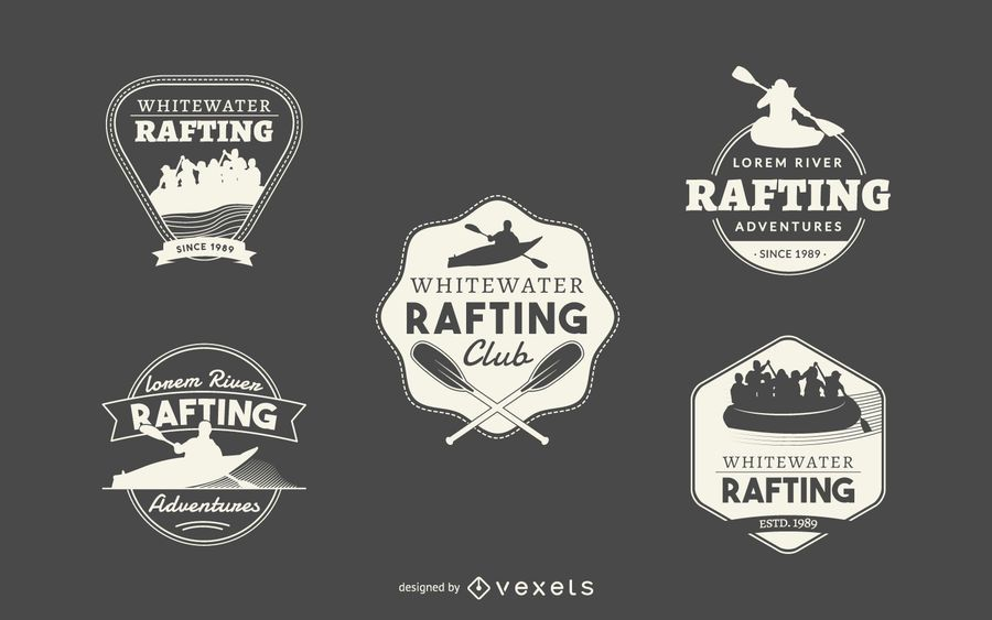 Hipster rafting logo collection