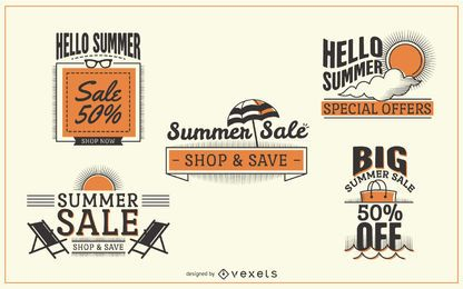 Rótulos de venda de verão hipster