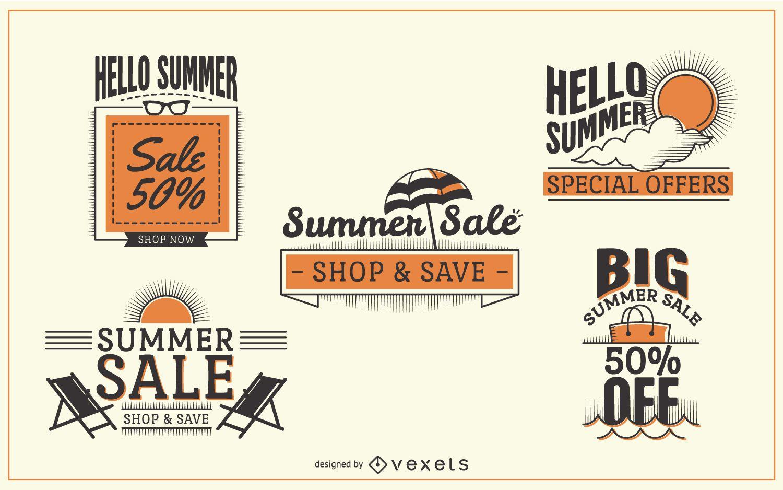 Etiquetas de rebajas de verano hipster