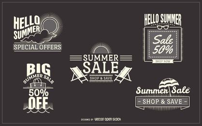 conjunto de etiqueta de venta de verano