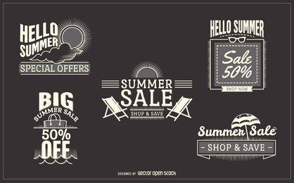 conjunto de etiqueta de venta del verano