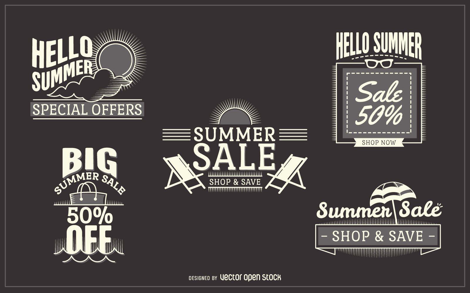 summer sale label set