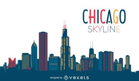 Bunte Skyline von Chicago