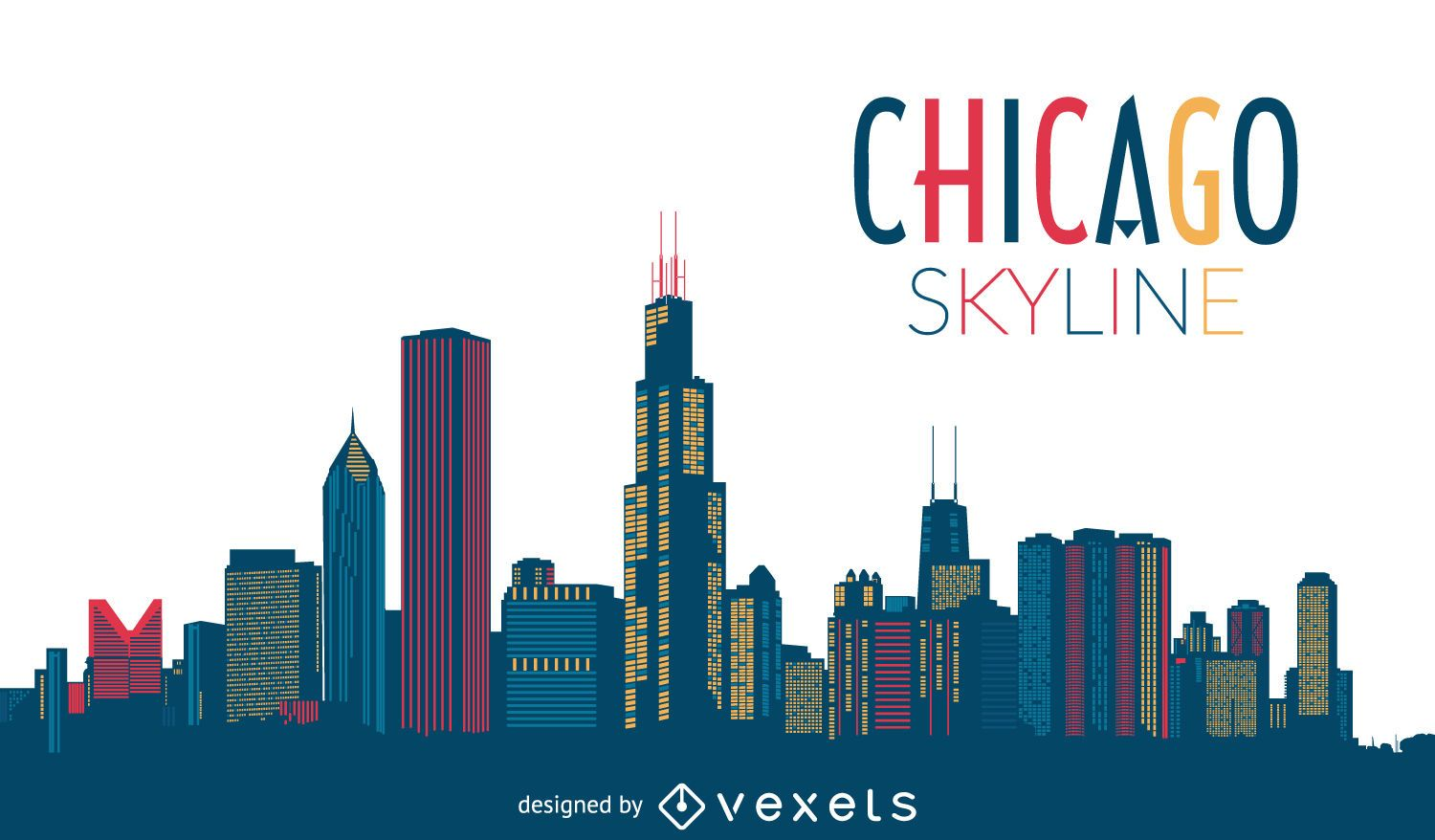 chicago skyline silhouette vector download
