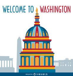 Cartão da ilustração de Washington