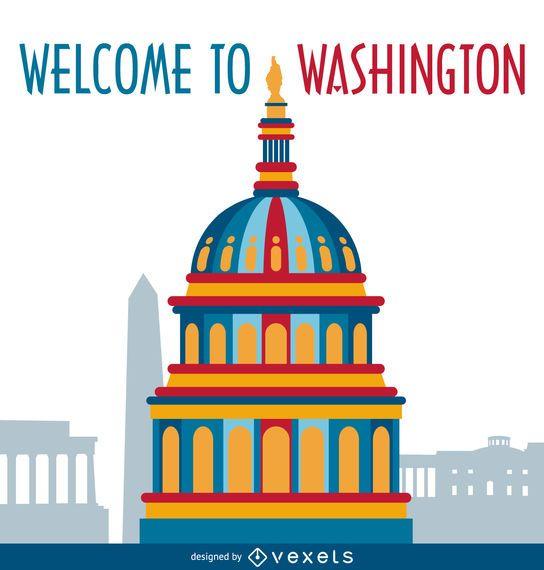 Washington illustration postcard