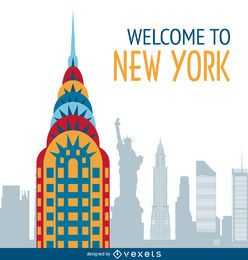 New York postcard illustration