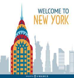 New York postcard illustration