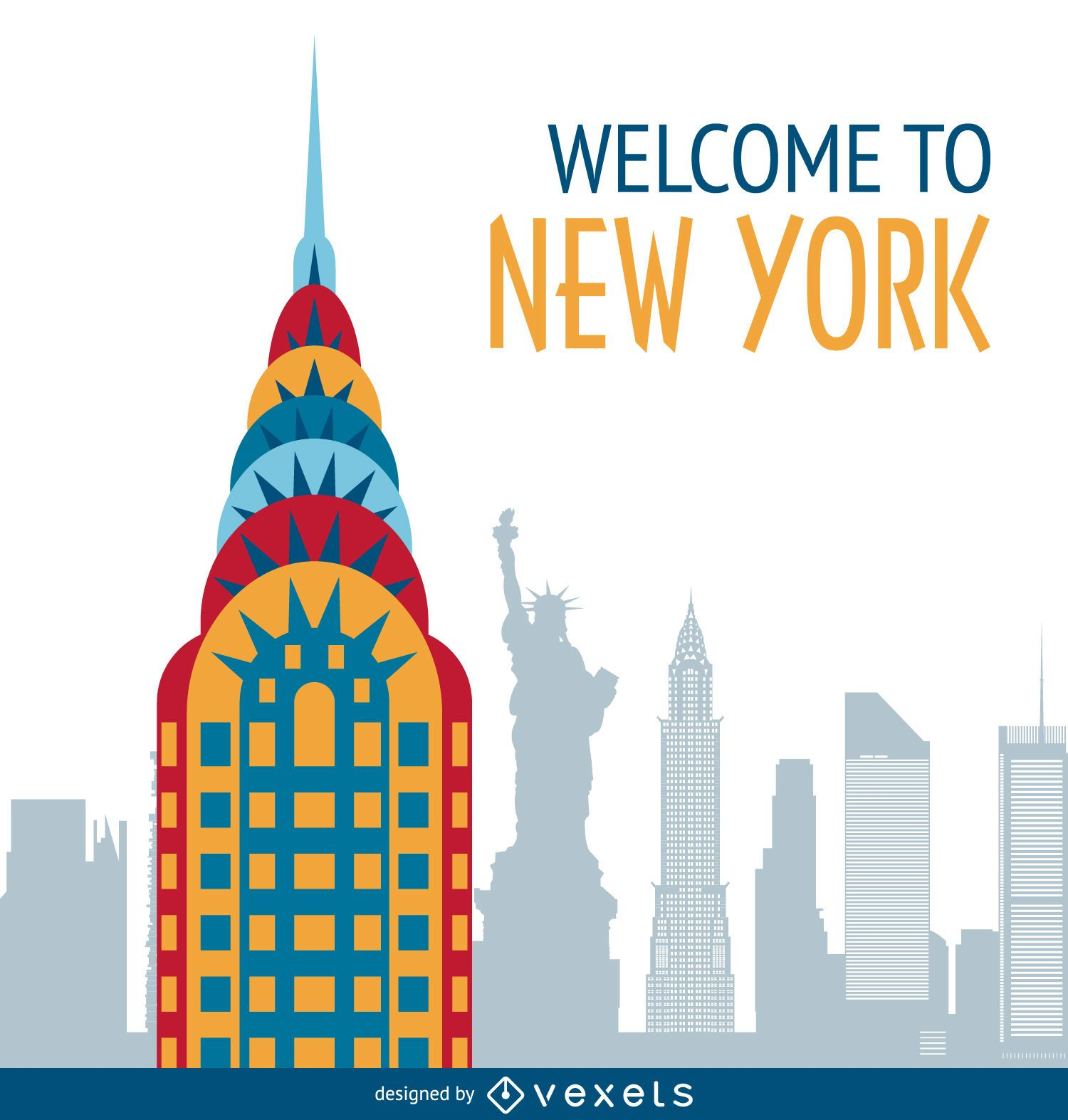 Populaire New York postcard illustration - Vector download ZY44