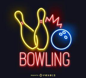 Neon Bowling Zeichen schwarz