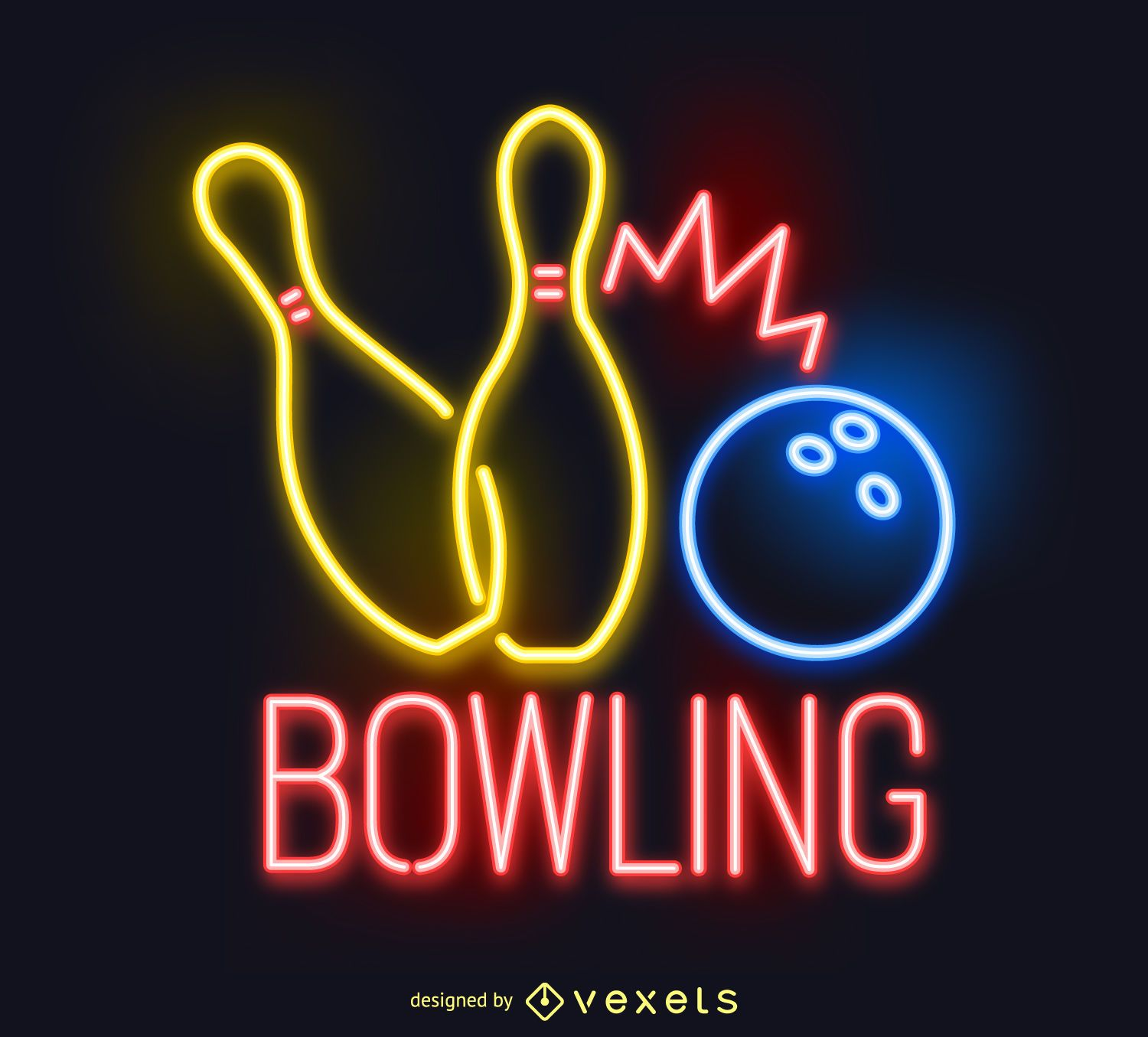 Neon Bowling Sign Black