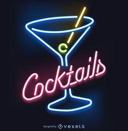 Letrero de neón de cócteles