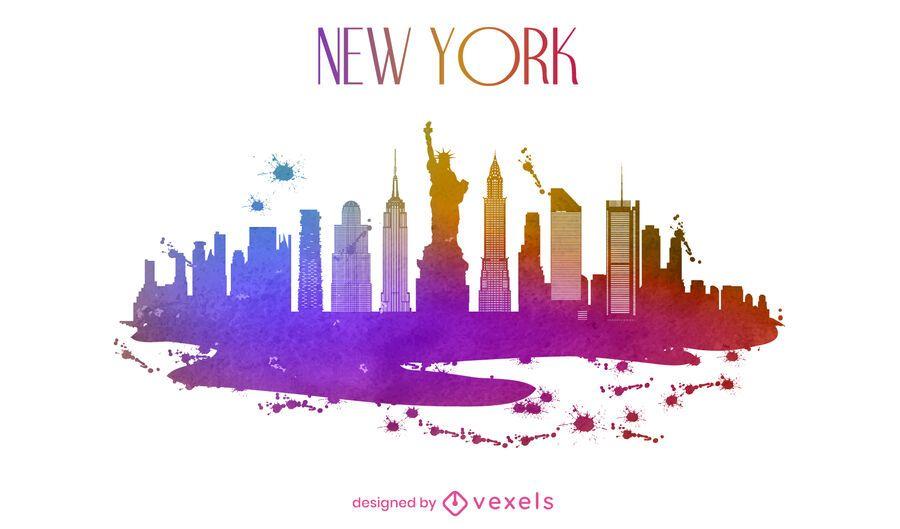 New York watercolor skyline