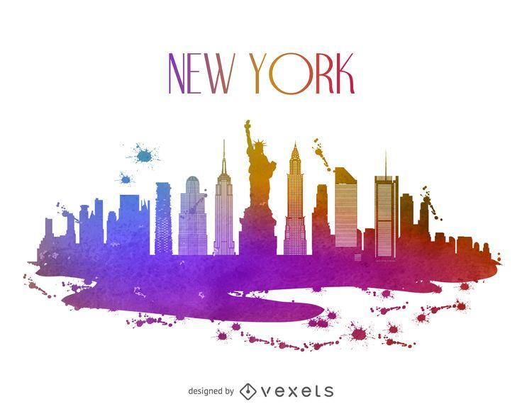 Nova York, aguarela, skyline