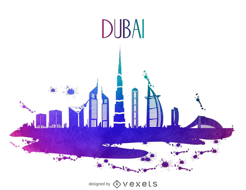 Silueta de horizonte de acuarela de Dubai